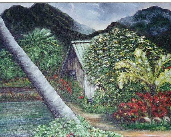 Landscape Poster featuring the painting Kanaka House by Laura Johnson