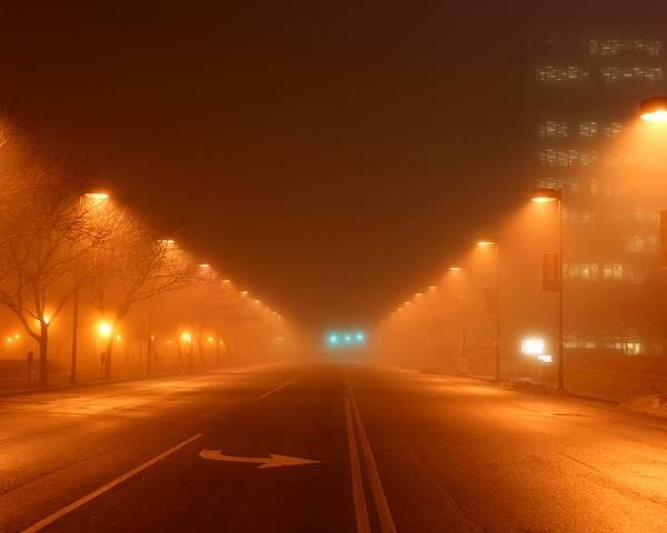 Kansas Poster featuring the photograph Kansas City Grand Avenue In Fog by David Dunham