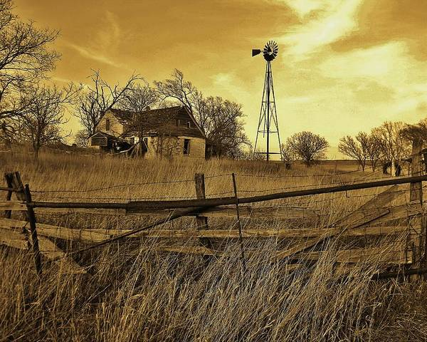 Kansas Poster featuring the photograph Kansas Pioneer Homestead On The Plains by Greg Rud