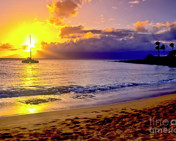 Scenics Poster featuring the photograph Kapalua Bay Sunset by Jim Cazel
