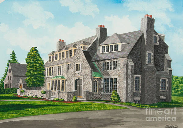 Kappa Delta Rho Frat House Poster featuring the painting Kappa Delta Rho South View by Charlotte Blanchard