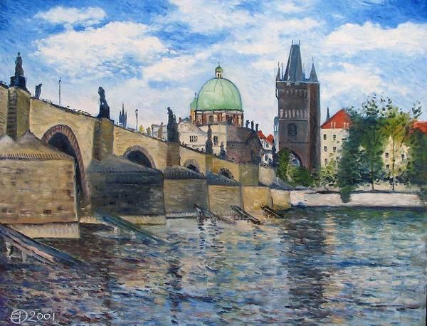 Prague Poster featuring the painting Karlov Most Pargue Czech Republic 2001. by Enver Larney