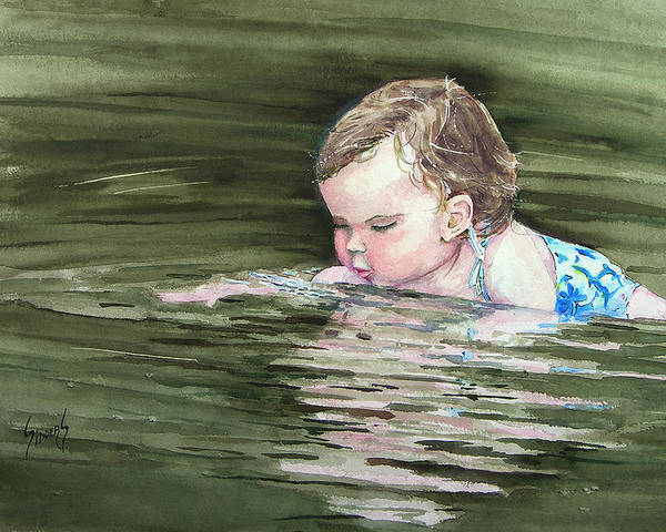 Child In River Poster featuring the painting Katie Wants A River Rock by Sam Sidders