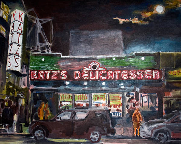 New York City Paintings Poster featuring the painting Katz Deli by Wayne Pearce