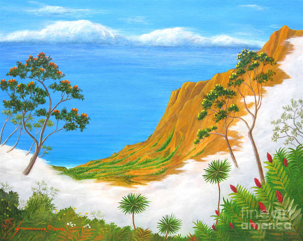 Landscape Poster featuring the painting Kauai Hawaii by Jerome Stumphauzer