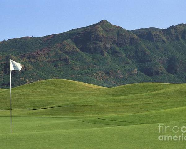 Blue Poster featuring the photograph Kauai Marriott Golf Cours by William Waterfall - Printscapes