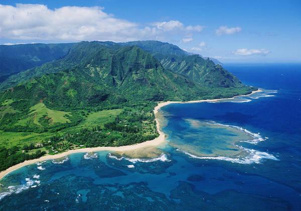 Aerial Poster featuring the photograph Kauai, Tunnels Beach by Greg Vaughn - Printscapes