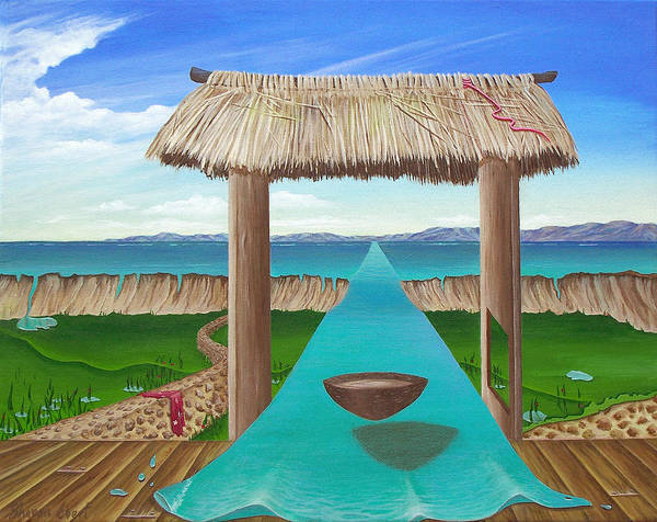 Surreal Painting Poster featuring the painting Kava Flow by Sharon Ebert