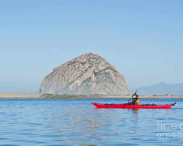 Active Poster featuring the photograph Kayaker In Morro Bay by Bill Brennan - Printscapes