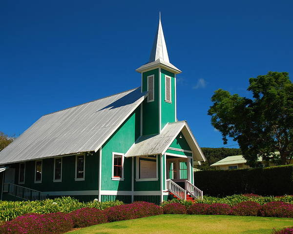 Poster featuring the photograph Ke Ola Mau Loa Church - Waimea by Steven Rice