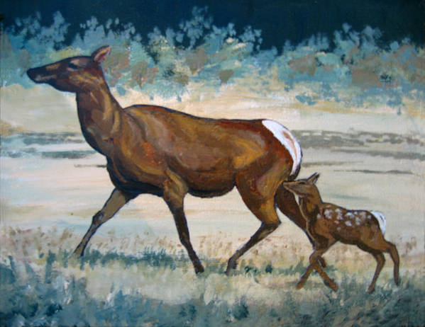 Nature Poster featuring the painting Keeping Up With Mama by Diane Ellingham