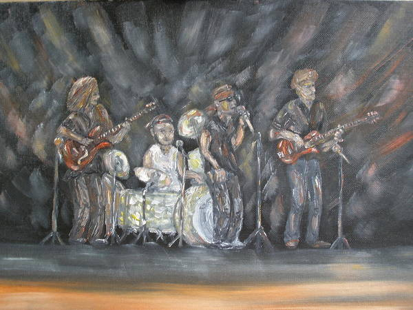 Rock Band Poster featuring the painting Keith Kyle Shawn And Chris by Carrie Mayotte