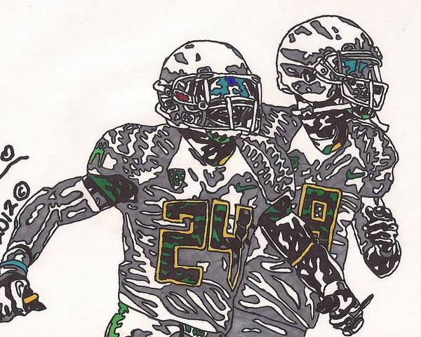 American Football Art Poster featuring the drawing Kenjon Barner And Marcus Mariota by Jeremiah Colley