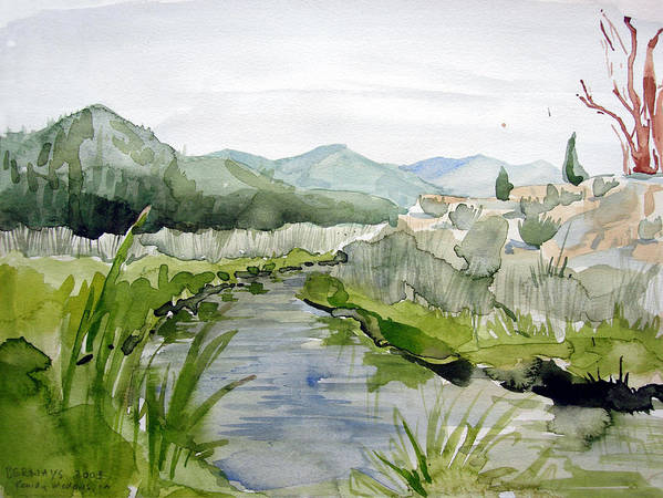 High Desert Landscape River Blue Mountains Outdoors Rural Wildlife Nature Poster featuring the painting Kennedy Meadows River by Amy Bernays