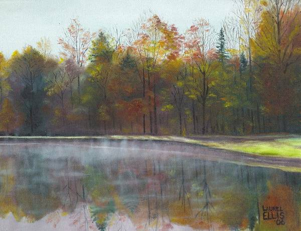 Landscape Poster featuring the painting Kennison Pond by Laurel Ellis
