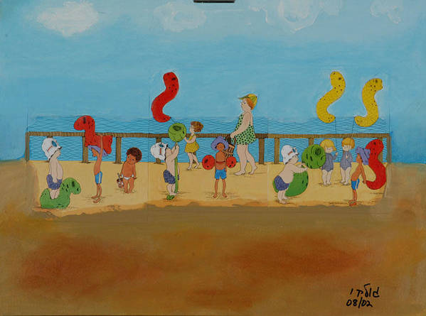Children Poster featuring the painting Kids At The Beach by Harris Gulko