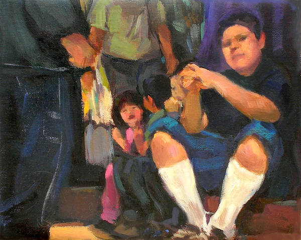 Figurative Poster featuring the painting Kids On The Street by Merle Keller