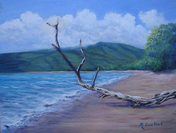 Landscape Poster featuring the painting Kihei Beach Tree by Maxine Ouellet