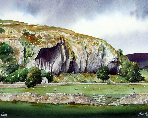 Landscape Poster featuring the painting Kilnsey Crag by Paul Dene Marlor