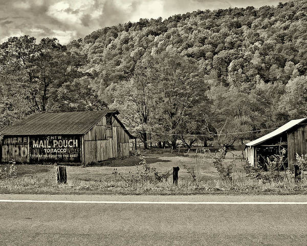 West Virginia Poster featuring the photograph Kindred Barns Sepia by Steve Harrington