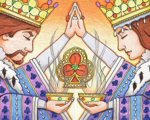 Monarchy Poster featuring the drawing King And Queen Of Clubs by Amy S Turner