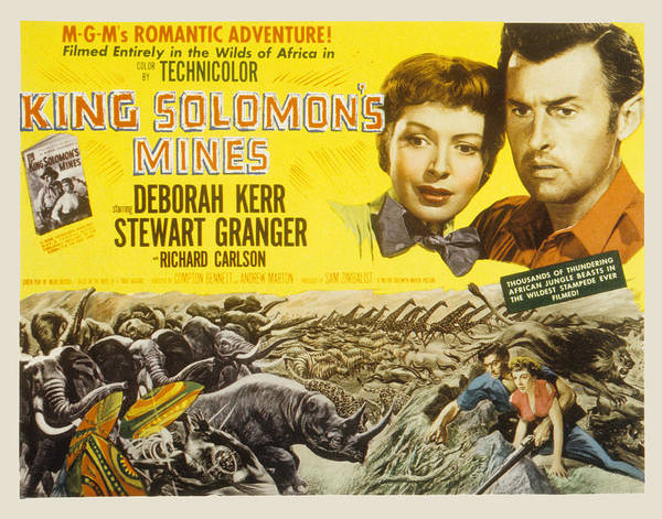 1950 Movies Poster featuring the photograph King Solomons Mines, Deborah Kerr by Everett
