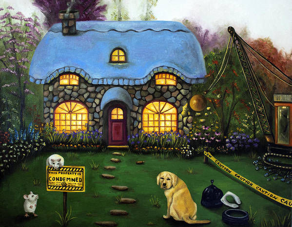 Dog Poster featuring the painting Kinkade's Worst Nightmare 2 by Leah Saulnier The Painting Maniac
