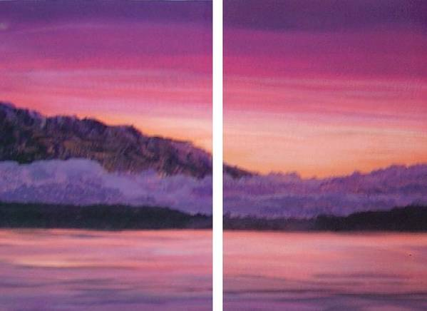 Calm Bright Landscape Mountains Water Poster featuring the painting Kiss Today Goodbye by Sally Van Driest