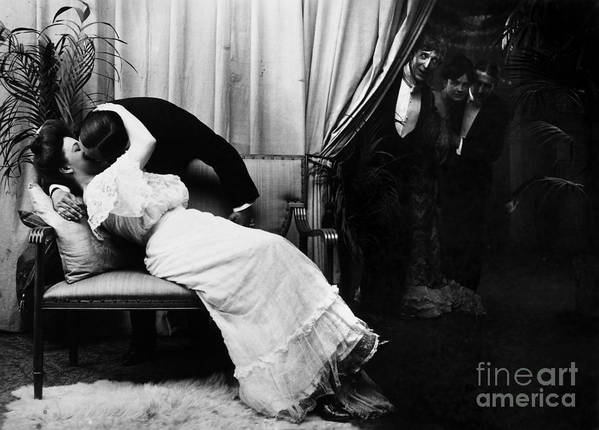 -kissing- Poster featuring the photograph Kissing, C1900 by Granger