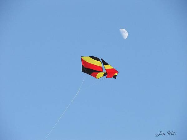 Flying Poster featuring the photograph Kite And Moon by Judy Waller