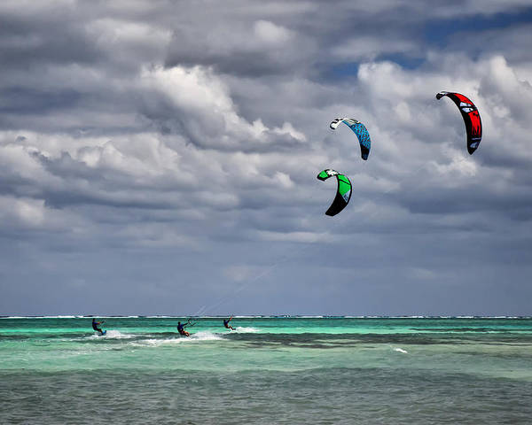 Cayman Poster featuring the photograph Kite Sufers Three by James Berry