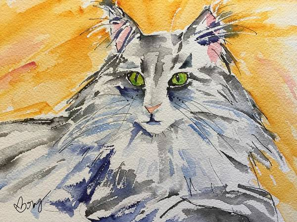 Cat Poster featuring the painting Kitty by Bonny Butler