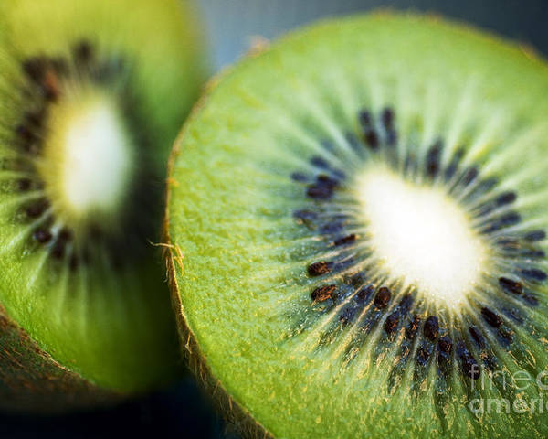 Center Poster featuring the photograph Kiwi Fruit Halves by Ray Laskowitz - Printscapes