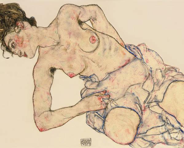 Kneider Weiblicher Halbakt Poster featuring the drawing Kneider weiblicher halbakt by Egon Schiele