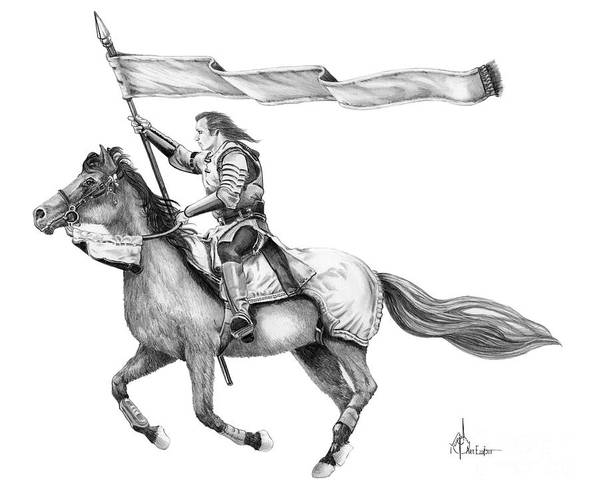 Pencil Poster featuring the drawing Knight In Armor by Murphy Elliott