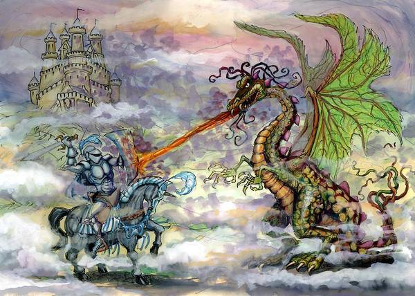 Knight Poster featuring the painting Knights N Dragons by Kevin Middleton