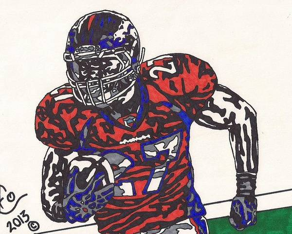 American Football Poster featuring the drawing Knowshon Moreno 2 by Jeremiah Colley