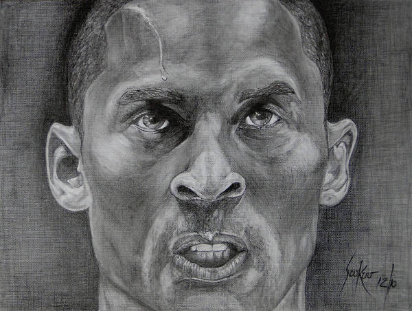 Kobe Bryant Poster featuring the drawing Kobe Bryant by Stephen Sookoo
