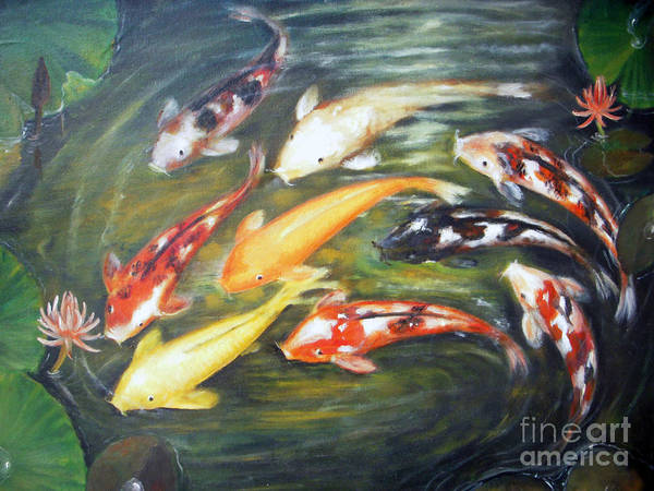 Koi Poster featuring the painting Koi 1 by Edy Sutowo