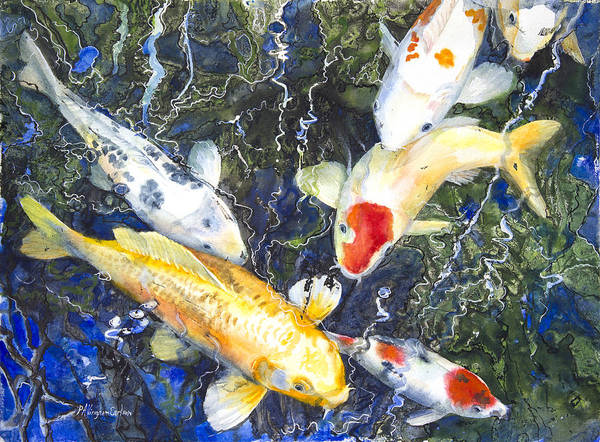 Art Poster featuring the mixed media Koi Deep Blue by Patricia Allingham Carlson