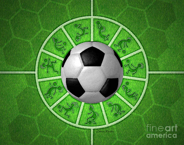 Soccer Poster featuring the digital art Kokopelli Soccer by Chris Rhynas