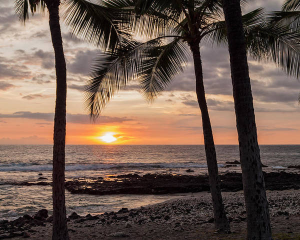 Kona Big Island Hawaii Beach Ocean Sunset Poster featuring the photograph Kona Sunset by Brian Harig
