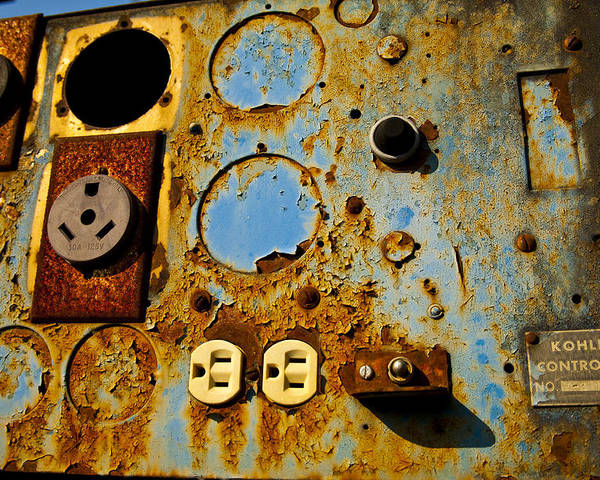 Abstracts Poster featuring the photograph Kontroller Rust And Metal Series by Mark Weaver
