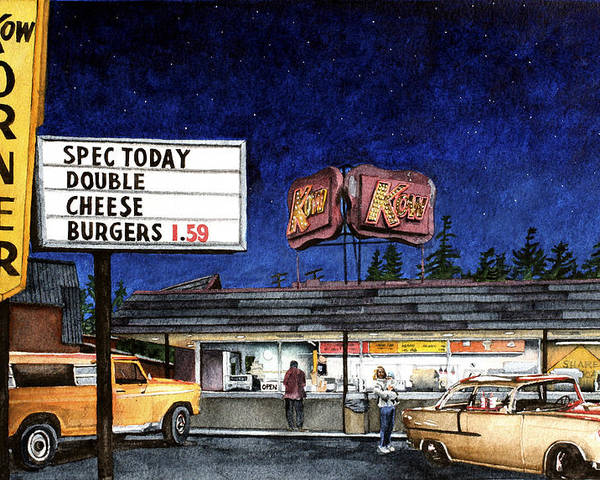 Drive-in Poster featuring the painting Kow by Perry Woodfin