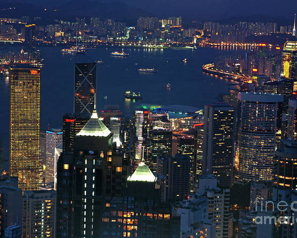 Asia Poster featuring the photograph Kowloon Skyline And Victoria Harbour At Dusk by Sami Sarkis