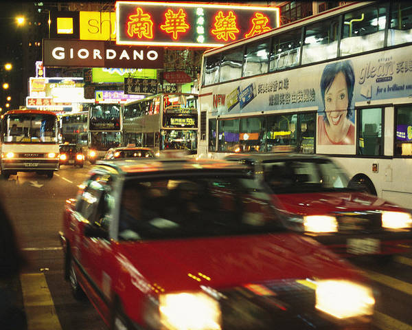 Asia Poster featuring the photograph Kowloon Street Scene At Night With Neon by Justin Guariglia