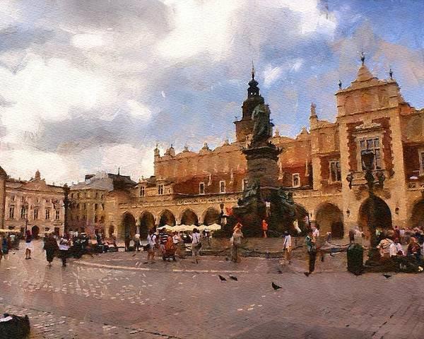 Krakow Poster featuring the digital art Krakow Main Market by Boguslaw Florjan
