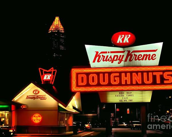 Motorcycle Art Poster featuring the photograph Krispy Kreme Doughnuts Atlanta by Corky Willis Atlanta Photography