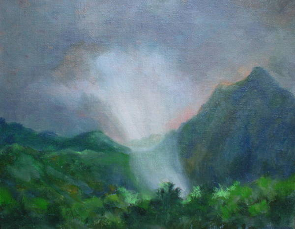Landscape Poster featuring the painting Kualoa Ranch Light Show by Bryan Alexander