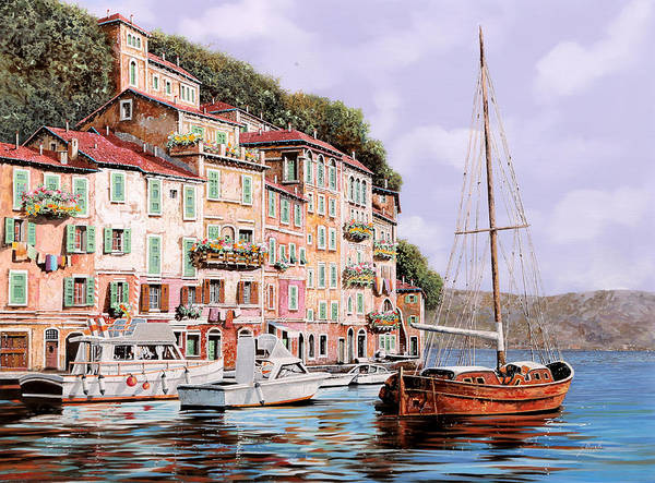 Landscape Poster featuring the painting La Barca Rossa Alla Calata by Guido Borelli